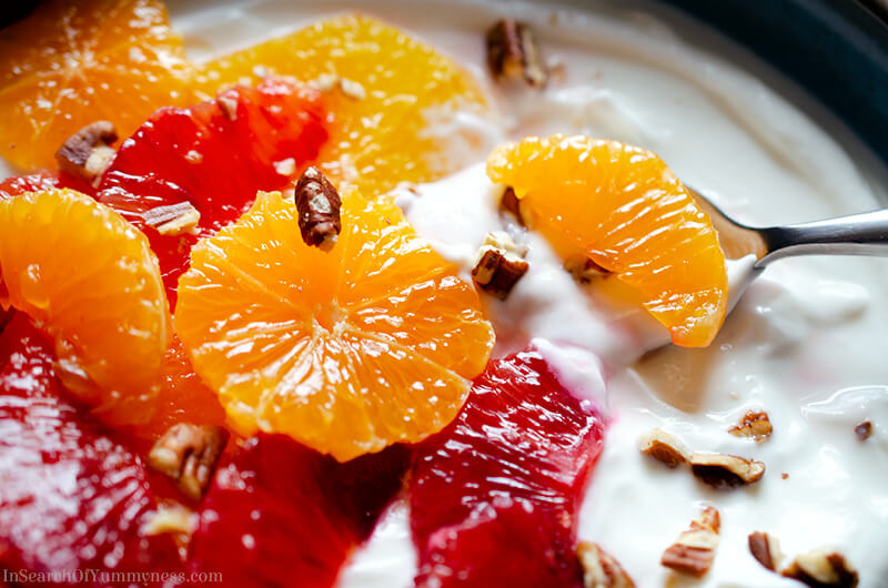 Winter Citrus Yogurt Bowl with spoon | InSearchOfYummyness.com
