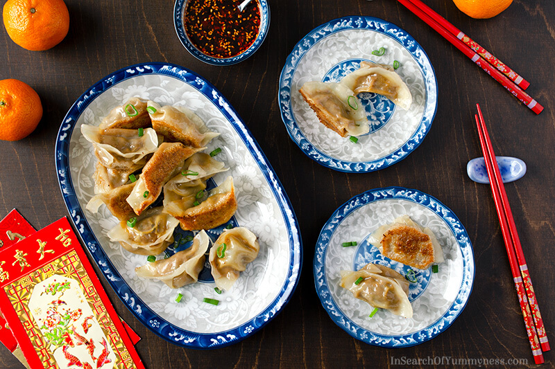 Pan fried dumplings from InSearchOfYummyness.com
