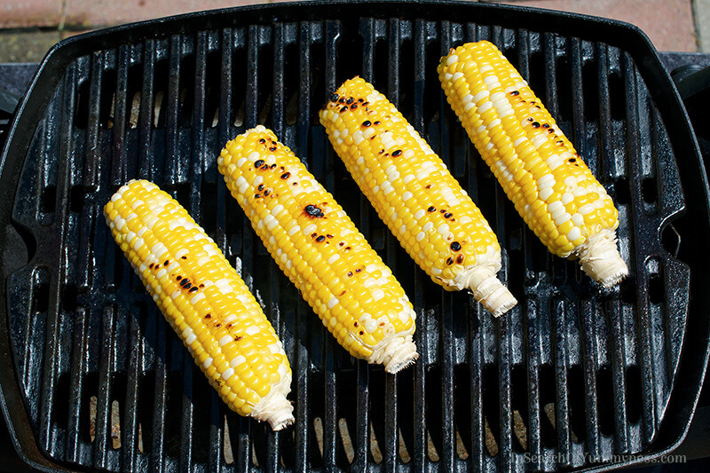 Grilling corn for Mexican corn cups recipe