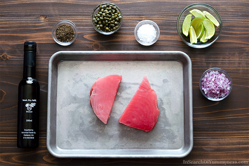 Ingredients for the carpaccio, tuna, capers, red onion and lime | In Search Of Yummy-ness