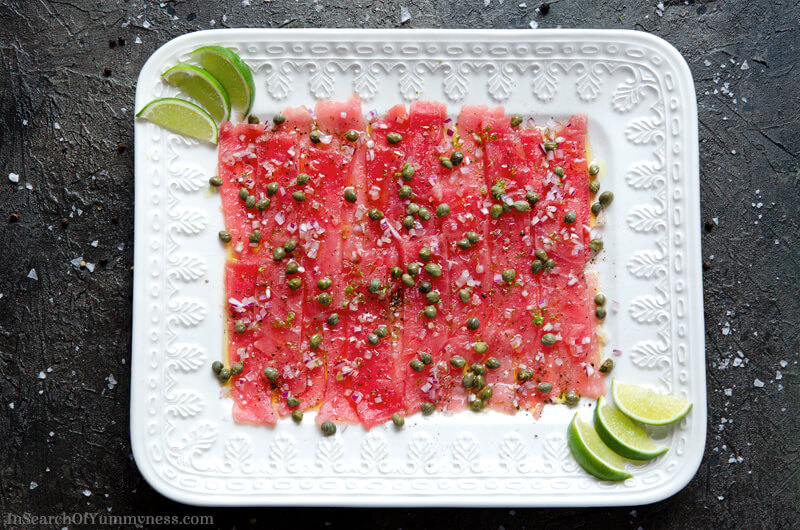 Tuna Carpaccio with capers, red onion and lime | In Search Of Yummy-ness