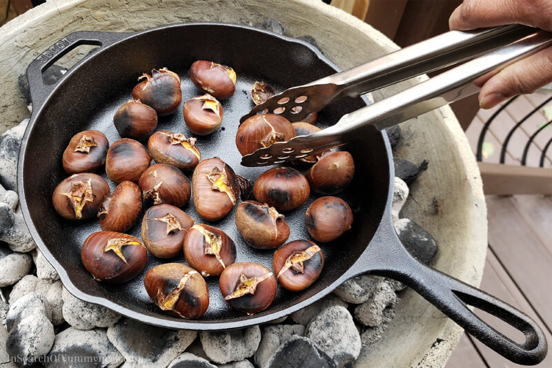Roasting chestnuts over hot charcoal | InSearchOfYummyness